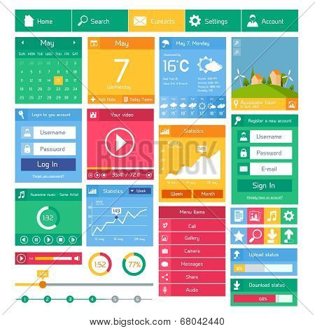 Flat user interface design template internet and applications layout elements vector illustration poster