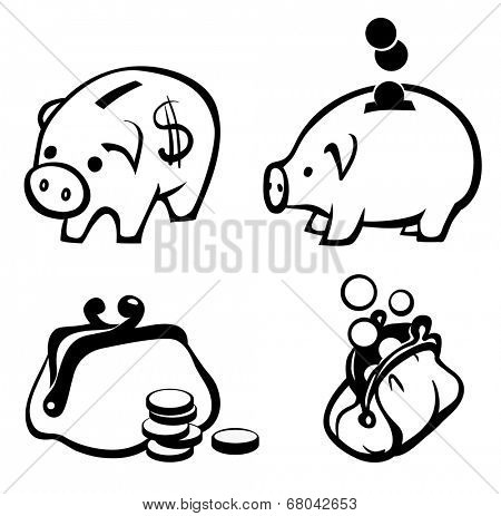 Money icons set - piggy bank and purse with coins