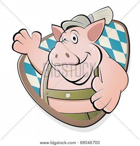 funny cartoon pig in bavarian lederhosen