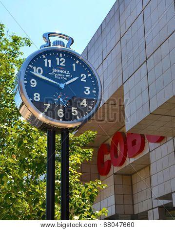 Shinola City Clock Near Cobo Center In Detroit, Mi