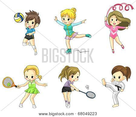 Cartoon Athlete Girls Icon In Various Type Of Sports (vector)
