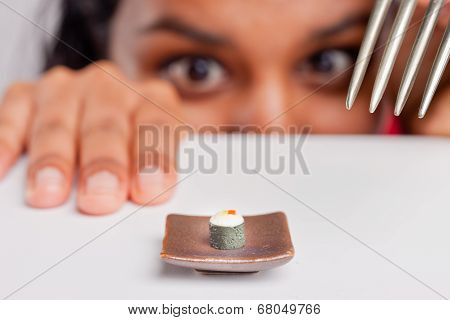 indian girl on a severe diet trying to eat poster