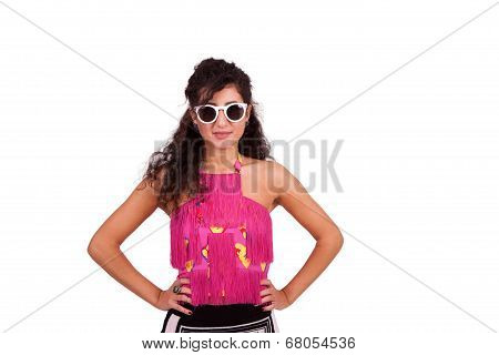 Happy young woman posing with hands on hips