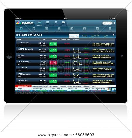 CNBC business application on an Apple iPad screen