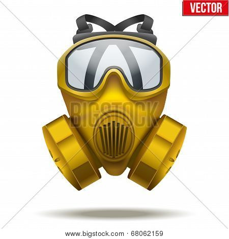 Yellow gas mask respirator. Vector Illustration.