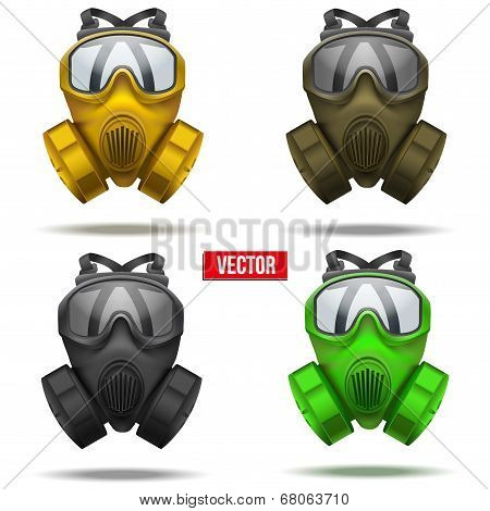 Set of gas mask respirator. Vector Illustration.