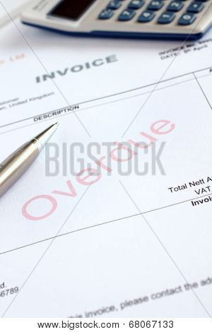 Overdue Invoice with British Value added tax subtotal poster