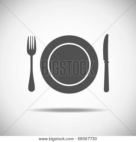 Knife, plate, fork
