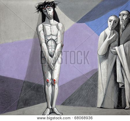 GEMUNDEN,GERMANY - JULY 18:10th Stations of the Cross, Jesus is stripped of His garments,Church of the Holy Trinity on July 18, 2013 in Bavarian village of Gemunden am Main in the Diocese of Wurzburg.