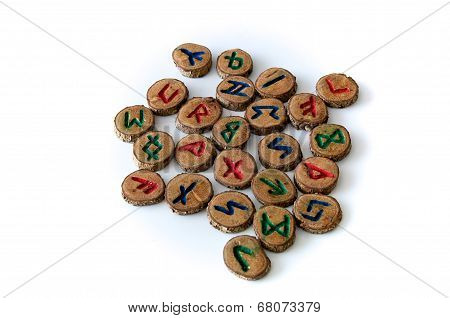 Carved And Painted Wooden Oak Runes On White