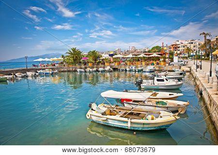Saranda city port  at ionian sea. Albania.