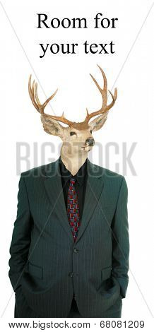 A genuine Party Animal. A Deer with a deer horns wears a human business suit, also known as a Stag or Stag Man represents Wild Times, Strength, Virility, Nature, Raw Animal Magnetism, and more.
