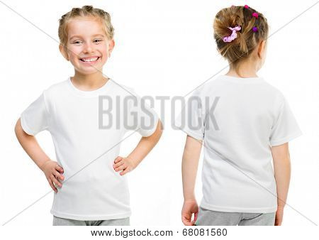 Little girl in a white T-shirt isolated on white background, front and back