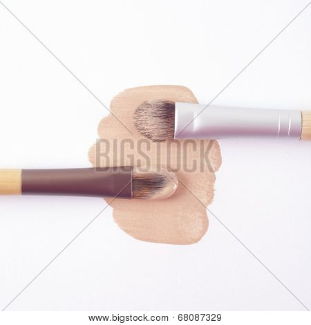 Foundation with makeup brushes