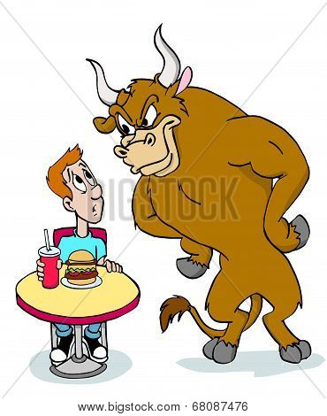 Bull Angry About Burger