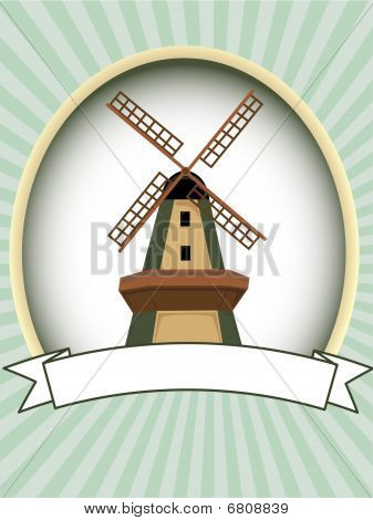 Blank green oval windmill product label vector