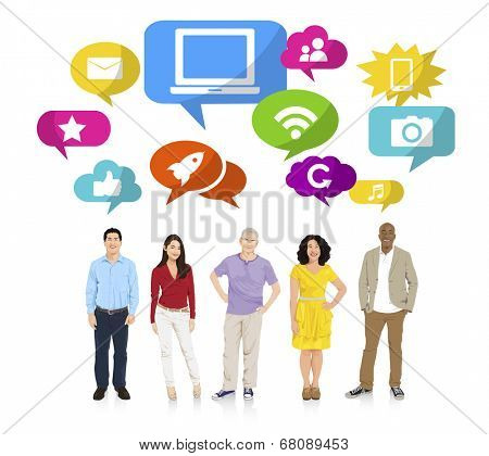 Multi-Ethnic Group of People and Internet Concepts