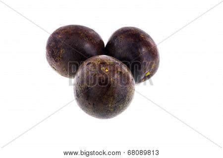 Passion Fruits Isolated On White Background With Clipping Path