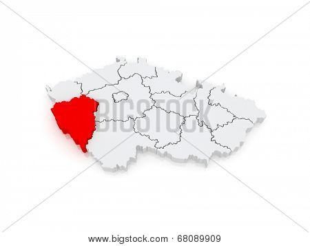 Map of Plzen Region. Czech Republic. 3d