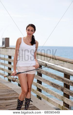 Stock image of a fisher woman