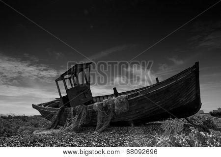 Abandoned fishing boat at Dungeness. uk