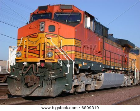 Orange locomotive