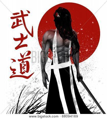 Samurai with background