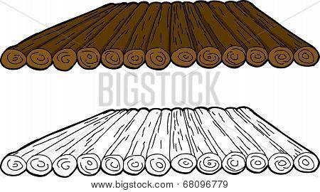 Cartoon Wooden Raft