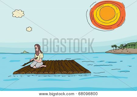 Shipwrecked Man On Raft