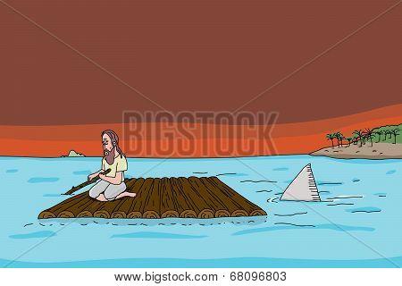 Shark Following Man On Raft