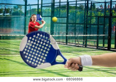 Women Playing Paddle Tennis