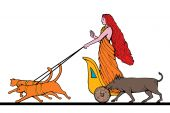 Freya Norse goddess of love and beauty riding a chariot pulled by two cats and wild boar walking at her side poster
