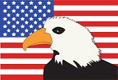 American Flag with Bald Eagle Patriotic Symbol Background. poster