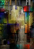 City Abstract with nude poster