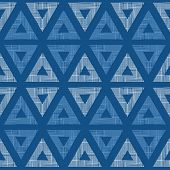 vector abstract textile blue triangles ikat seamless pattern background poster