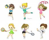 Cartoon athlete girls icon in various type of sports create by vector poster