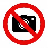Cameras prohibited sign. No photography sign isolated on white background poster