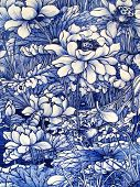 Close -up from an Antique cobalt blue floral pattern Japanese porcelain tile panel dated 1875 poster