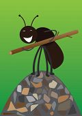 Cheerful, black ants carrying a large branch poster