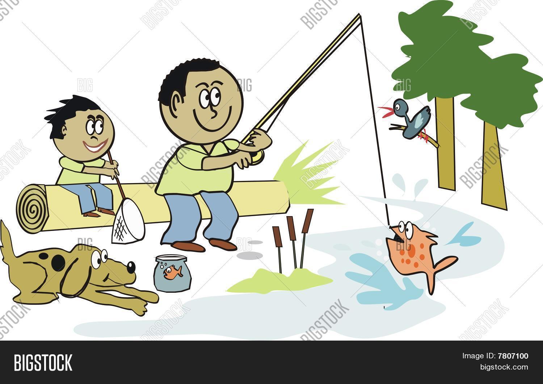 Vector Y Foto Dibujos Animados De Pesca Americana