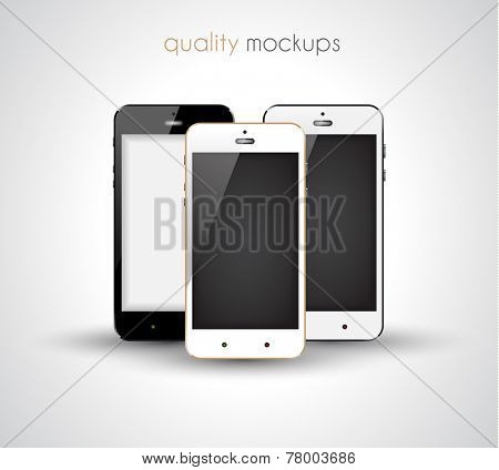 Mobile smartphone realistic collection set of elegant modern style mockups with blank screen isolated and ready to use for games previews, web elements, app presentations and so on.