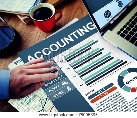 Accounting Businessman Working Calculating Thinking Planning Paperwork Concept poster