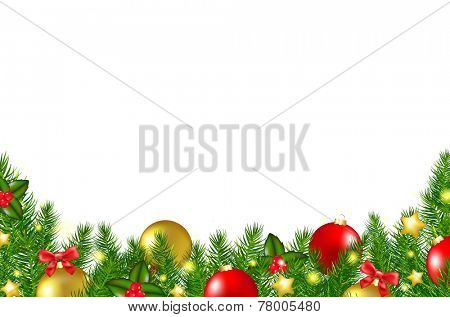 Christmas Border With Holly Berry With Gradient Mesh, Vector Illustration