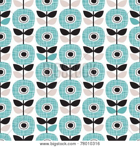 Seamless retro abstract poppy flower blue winter floral background pattern in vector