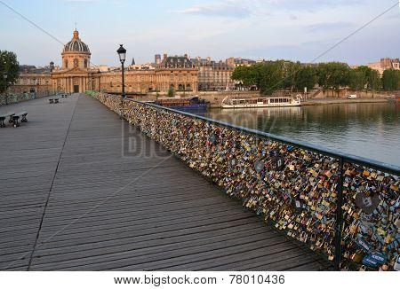 Hundreds Of Thousands Of Love Locks On The Pont Des Arts Bridge, Paris France.