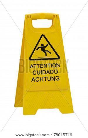 Wet Floor Sign On White