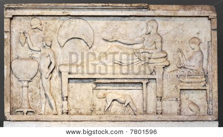 Funerary stele with banquet scene. Sculpture from attic (Greek) period 450-480 BC poster