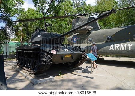 U.S. Army tank and helicopter at War Remnants Museum, Ho Chi Minh City, Vietnam