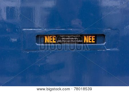 Mail Slot On Blue Door In The Netherlands