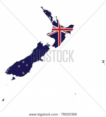 New Zealand Map Flag